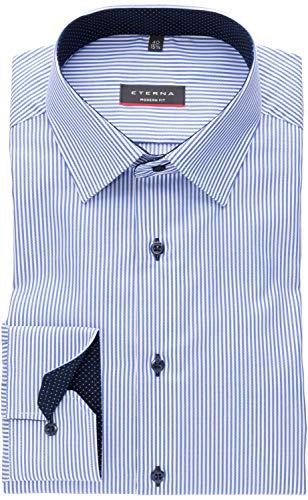 eterna Modern Fit Langarmhemd Citystreifen 8992-16-X14P, Größe 42, Farbe Blau