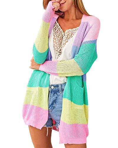YOINS Mantel Damen Winter Oberteile Damen Elegant Oversize Strickjacke Cardigan, B-rosa, XL