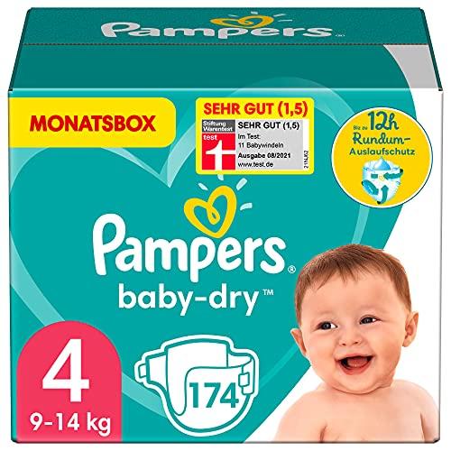 Pampers Windeln Größe 4 (9-14kg) Baby Dry, 174 Stück, MONATSBOX, Bis Zu 12Stunden Rundum-Auslaufschutz