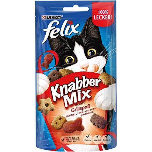 FELIX KnabberMix Grillspaß Katzensnack, Knusper-Leckerlie mit drei Geschmacksrichtungen, 8er Pack (8 x 60g)