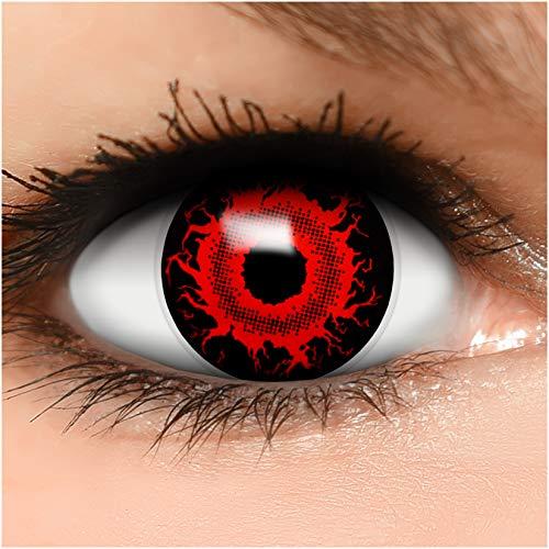 Farbige Kontaktlinsen Cataclysm in rot + Behälter - Top Linsenfinder Markenqualität, 1Paar (2 Stück)