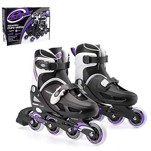 Osprey Inline Skates für Jungen und Mädchen - größenverstellbare Roller Blades - ideal für Anfänger - verschiedene Größen - Rollschuhe aus hochwertigen Materialien - in Schwarz/Weiß/Violett