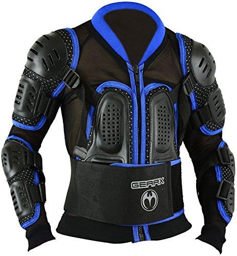 Kinder Motocross Rüstung Rücken Motorrad Schutz Jacke - Blau, S