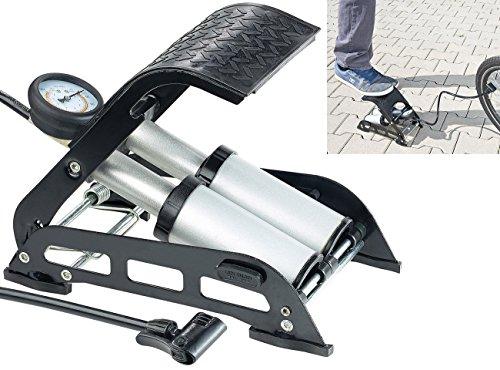 AGT Fußpumpe mit Manometer: Hochleistungs-Fußluftpumpe, Doppel-Stahlzylinder, Manometer bis 7 bar (Fußluftpumpe Fahrrad)