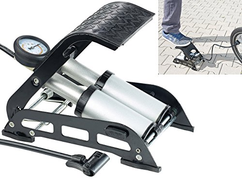 AGT Velopumpe: Hochleistungs-Fußluftpumpe, Doppel-Stahlzylinder, Manometer bis 7 bar (Fahrrad Luftpumpe)