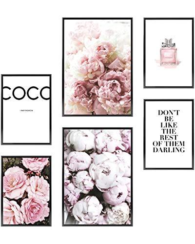 Heimlich® Premium Poster Set   OHNE Bilderrahmen   Stilvolles Set mit passenden Bilder als Wohnzimmer Deko   2 x DIN A3 & 4 x DIN A4 - ca. 30x42 & 21x30   » Coco «