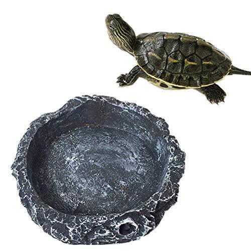 Mackur Kreativer Reptiliennapf für Futternapf, Wassernapf für Haustiere, Schildkröte, Geckoschlange, 1 Stück, Größe 8 x 8 x 2 cm (grau).