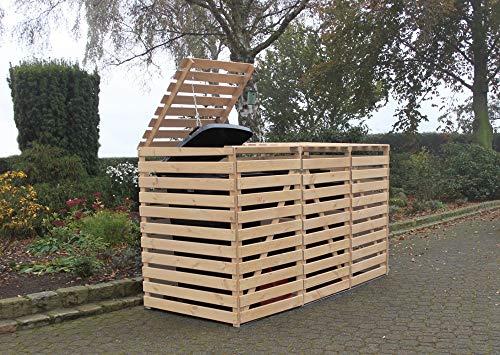 Beauty.Scouts Outdoor Dino Collection Erweiterung Mülltonnenbox Tim, 70 x 92 x 122 cm, Natur, Kiefer, mit Deckel, für je 1 Tonne, Garten, Mülltonnenabdeckung, Mülltonnenverdeck
