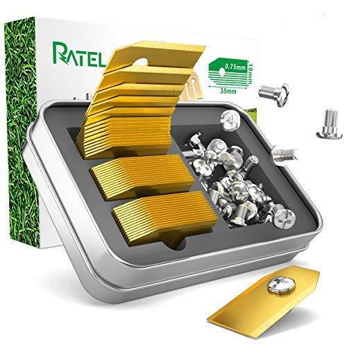 Titan Klingen, RATEL 45 pcs Automower Messer Titan Ersatzklingen aus mit Anti-Rost-Titanbeschichtung und Rostfreie schwere Schrauben, passen für 105, 310, 315, 320, 420, 430x Rasenroboter uvm - Gold