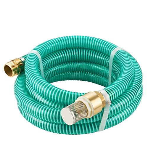 GardenMate® 4m Ansaugschlauch Ø 1 Zoll Messing Verbindung mit Rückschlagventil für Gartenpumpen (4m Länge)