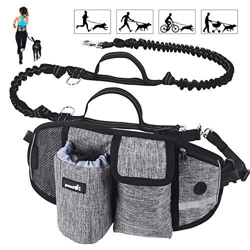 Pecute Joggingleine für Hunde, Jogging Hundeleine für Große und Mittelgroße Hund, Elastische und Reflektierende Laufleine, freihändige Leine mit Gürteltasche(Grau 2)