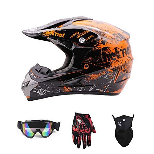 SanQing Motorrad-Sturzhelm, Jugend Kinder Dirt Bike Helme, Renn Motocross Fahrradhelm Vier Jahreszeiten universal (Handschuhe, Schutzbrille, Schutzmaske, 4-teiliges Set),Orange,M