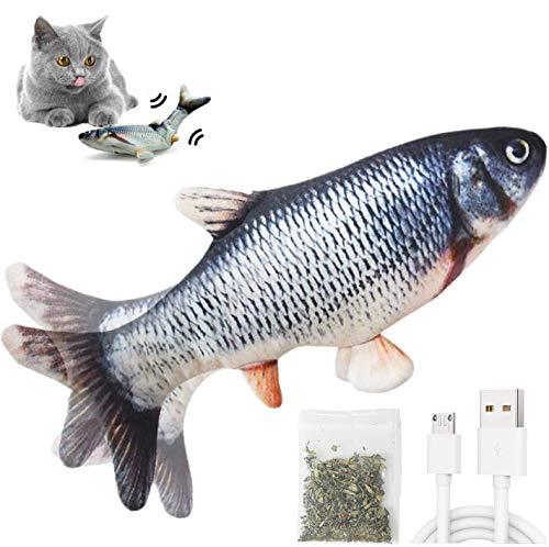Katzenspielzeug Elektrisch flippity Fischs,interaktives zappelnder fisch Spielzeug für katzen USB Elektrische Plüsch Fisch Spielzeug Fisch mit Katzenminze für Katze zu Spielen,Beißen,Kauen und Treten