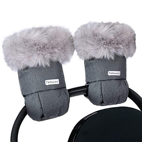 7AM Enfant Stroller Warmmuffs - Handwärmer mit Frostschutz, Kälteschutz, wasserabweisende und warme Handschuhe aus gewachster Baumwolle für Kinderwagen, Buggy- und Babyschale Griff