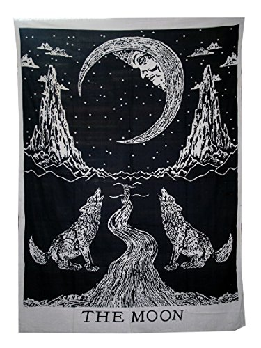raajsee Tarot Tapestry- Sun Moon Star Mysterious Medieval Europe Divination Tapestries Wall Hanging - Indian Cotton Throw- Hippie Mandala,Boho Bedding, Yoga Meditation (Wolf)