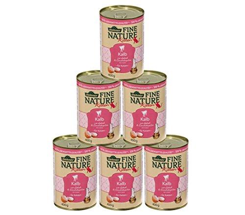 Dehner Fine Nature Katzenfutter Kitten, Lebensmittelqualität, Kalb, 6 x 400 g (2.4 kg)