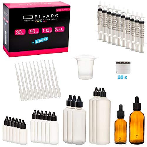 Elvapo Liquid-Flaschen Mischer-Set XXL (63-teilig)   Flaschen selber befüllen mit E-Liquids, Flüssigkeiten   Dropper Bottles, Plastik-Flaschen, Tropfflaschen  + 20 Etiketten + Pipette + Trichter
