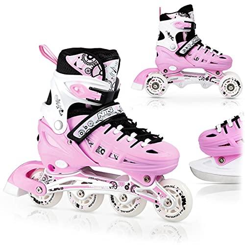 Nils Inlineskates Rollschuhe Schlittschuhe # 4in1 verstellbar Inline Skates EIS Sport Hockey Mädchen & Junge & Damen NH10905 (Rosa, S (31-34))