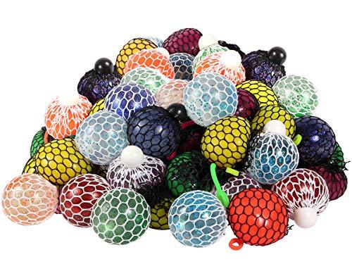 Alsino Glitzer Quetschball Squeeze Mesh Ball Anti Stress Quetschbälle im Netz für Kinder und Erwachsene, Menge :4 Stück Mesh Squishy Ball