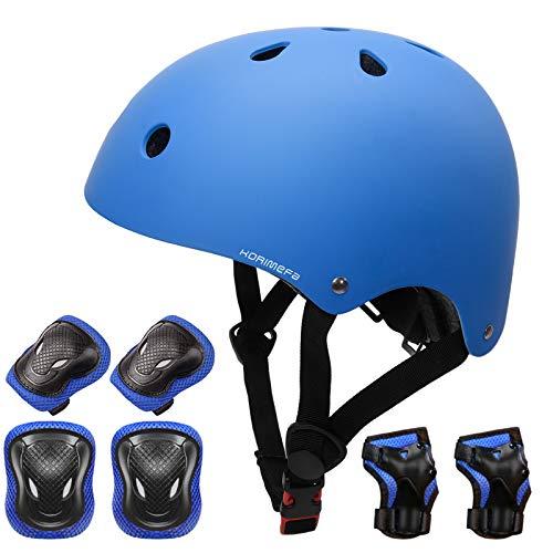 KORIMEFA Schoner Set Protektoren Set Schutzausrüstung Set Fahrradhelm Knieschoner Ellenbogenschoner Handgelenkschutz für Kinderroller Skateboard Radfahren 3-13 Jahres Kinder