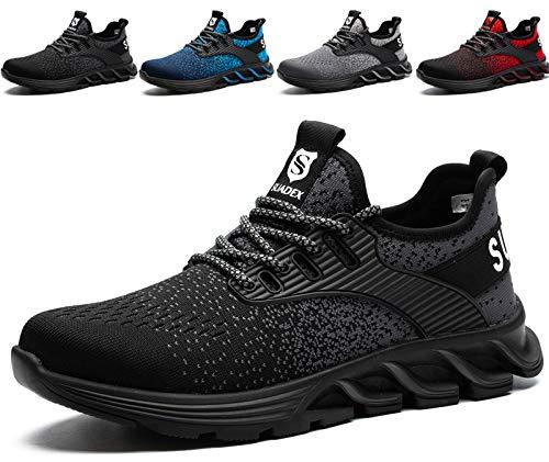 SUADEX Sicherheitsschuhe Herren Damen Arbeitsschuhe mit Stahlkappe Leicht Atmungsaktiv Sportlich Arbeits Schuhe (Schwarz,43EU)