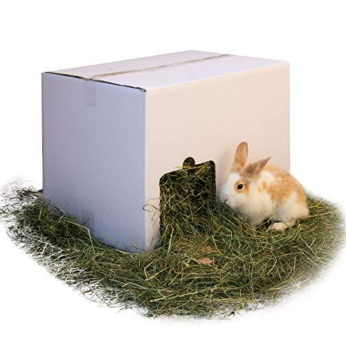 Tiroler Kaninchen Heu & Futter für Hasen und Meerschweinchen im praktischen Kaninchenheu Haus als Futter Box - 8 kg