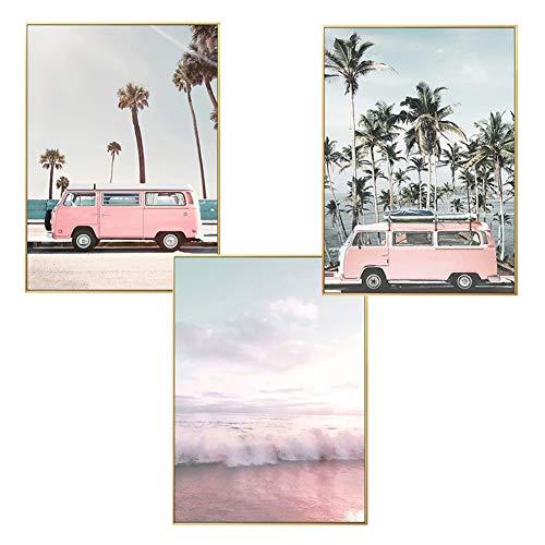 LucaSng Design Poster 3er Set, Strand Meer Hawaii Ananas Kaktus, Print Bilder Wandbild Wandkunst Ohne Rahmen, Kunstposter Deko für Wohnzimme (Stil C,20 x 30 cm)