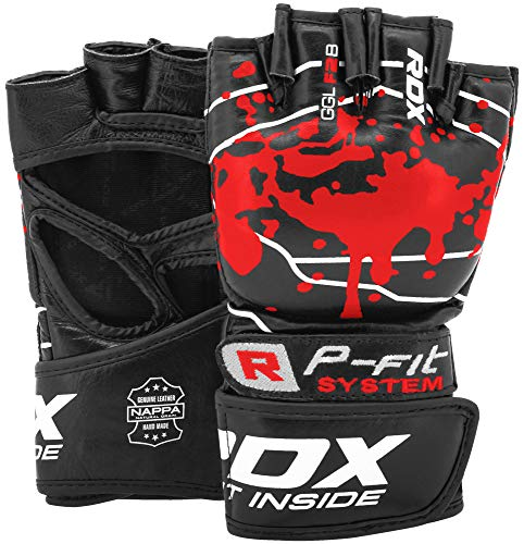 RDX MMA Handschuhe für Kampfsport, Nappa Rindsleder Profi Sparring Trainingshandschuhe Grappling Gloves, Punchinghandschuh für Kickboxen, Muay Thai, Boxsack, Freefight, Sandsack (MEHRWEG)