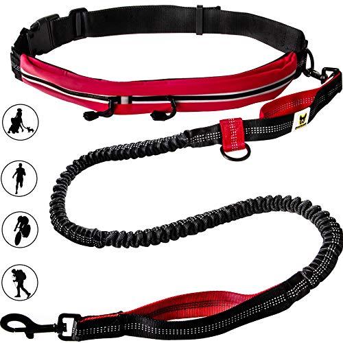 Hundefreund Joggingleine mit Bauchgurt Rot | Elastische Sportleine 120 bis 180 cm für mittelgroße und große Hunde | Freihändig Joggen Laufen Radfahren Wandern