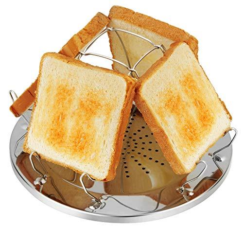 4 Scheiben Camping Toaster mit faltbarem Ständer Poröses Tablett Brot Toaster für Familien Outdoor Gasherd Kocher Picknick Faltbares