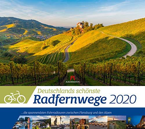 Deutschlands Radfernwege 2020, Wandkalender im Querformat (54x48 cm) - Mit Hintergrundinformationen zu den Fahrradtouren, mit Monatskalendarium