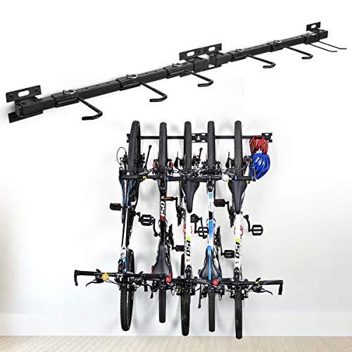 Fahrradständer zusammenklappbarer Fahrradständer für die Wandmontage Fahrradhalterung Fahrradständer für Fahrräder Aufbewahrungsständer für 5 Fahrräder verstellbares Trägersystem für Haus und Garage