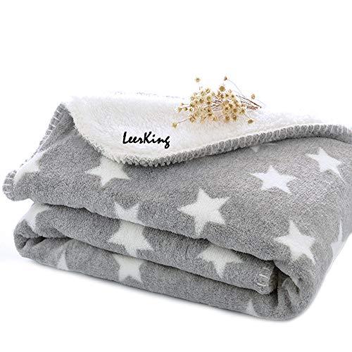 LeerKing Hundedecke Kuscheldecke für Katzen Kaninchen und alle Haustiere waschbar doppeilseitig für Sofa Bett und Körbchen Grau 75 * 100cm