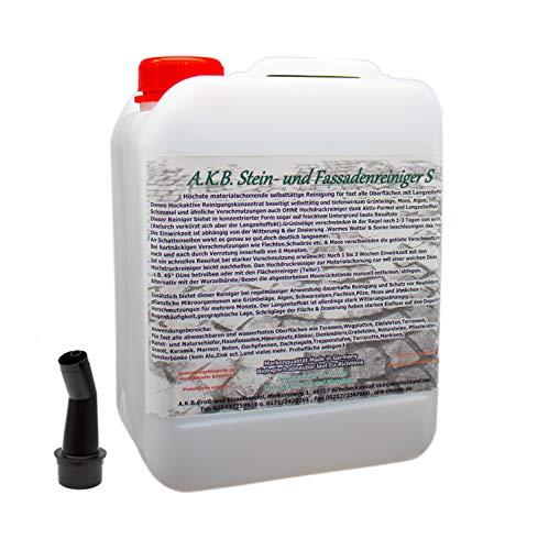 A.K.B. Stein- und Fassadenreiniger S Konzentrat, 3365 (bei farbiges auf Farbechtheit prüfen!),(5 Liter(bis3000m²), Dachreiniger, Grünbelagentferner, moosentferner, Steinreiniger