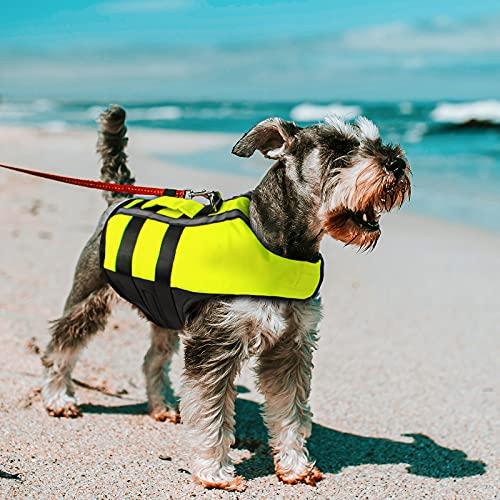 NAMSAN Hundeschwimmwesten Schwimmweste für Hund Tragbar Aufblasbar Rettungswesten für Kleine/Mitte/Groß Hunde, Grün-S