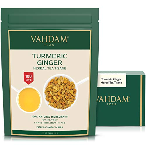 VAHDAM, Kurkuma-Ingwer-Kräutertee Loose Leaf | (100 Tassen) | Indiens Wundergewürz | Kurkuma-Tee & Ingwer-Tee | 100% natürlicher Tisane Tee | Bio Loser Tee | Brauen Sie als heißer oder Eistee | 200g