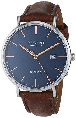 Regent Herren Analog Quarz Uhr mit Leder Armband 11110816
