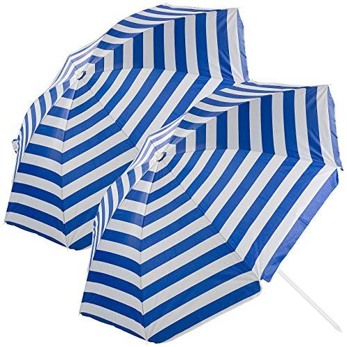 Royal Gardineer Schirm Strand: 2er-Set 2-teilige Sonnenschirme mit Sonnenschutz UV30+, Tasche, Ø160cm (Sonnenschirm-Strandschirm)
