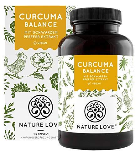 NATURE LOVE® Curcuma (Kurkuma) Balance Kapseln. Mit Kurkuma, Piperin und Curcumin 95% hochdosiert (entspricht ca. 7.000mg Kurkuma) pro Tagesdosis. Laborgeprüft, vegan, deutsche Produktion