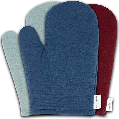 Sophie Nordinn ® Ofenhandschuhe Blau - Hitzebeständig Kochhandschuhe (2er Set) - Oven Gloves - Hochwertige Ofenhandschuh - Topflappen Handschuhe