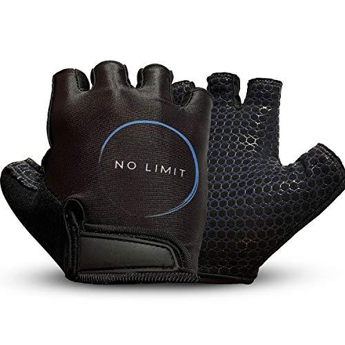 NoLimit® Fitness Handschuhe Trainingshandschuhe Sporthandschuhe für Damen u. Herren Geeignet als Fahrradhandschuhe in Schwarz Größe M