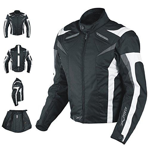 Motorradjacke CE Protektoren Sport Textil Motorrad Thermofutter Weiss XL