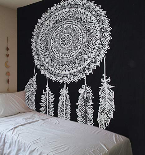 Schwarz Weiß Wandteppich Mandala Dream Catcher/Elefant Boho Wandtuch Hippie/ Mehrfarbige Wandbehang Mandala Decke Tuch/groß indien baumwolle Bohemian Wandtucher Mandala/Weihnachten Geschenk 84x94 inch