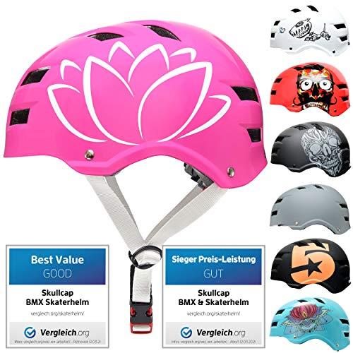 Skullcap® Skaterhelm Erwachsene Pink Flower - Fahrradhelm Damen ab 14 Jahre Größe 58-61 cm - Scoot and Ride Helmet Adult Pink - Skater Helm für BMX Inliner Fahrrad Skateboard