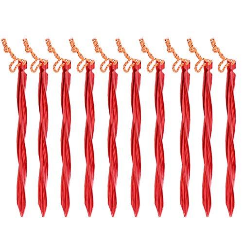 TRIWONDER 10tlg Heringe, Zelt Erdnägel, Zeltheringe, Sandheringe mit Aufbewahrungsbeutel für Camping Outdoor (Rot - Wirbelnde Form - 25cm)