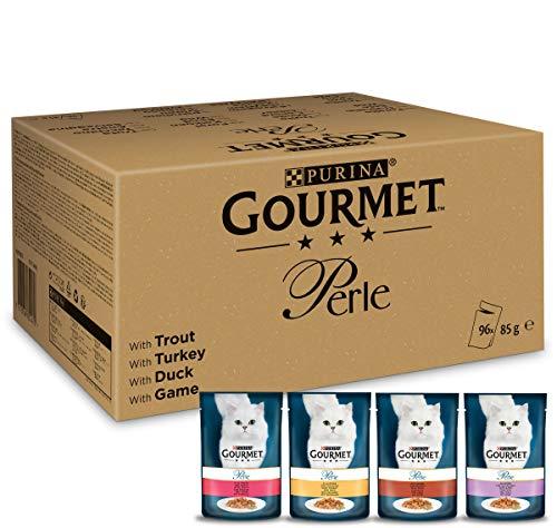 PURINA GOURMET Perle Erlesene Streifen in Gelee, 96 Portionsbeutel Katzenfutter nass, Sorten-Mix, 12er Pack (12 x 8 Beutel à 85g)