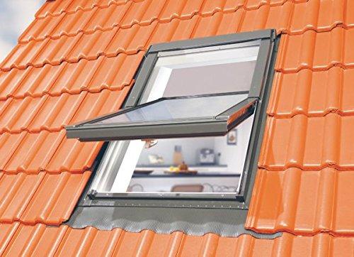 Optilight Dachfenster 78x118 mit Eindeckrahmen wellig & Dauerlüftung FAKRO Konzern