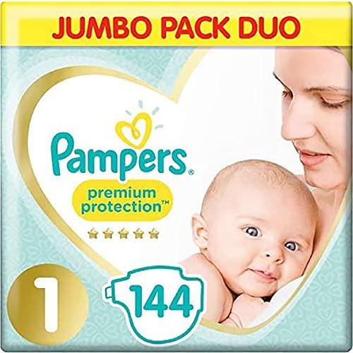 Pampers Größe 1 New Baby Windeln, Jumbo-Pack, Schutz für empfindliche Neugeborene Haut (2–5 kg), 72 x 2 Stück