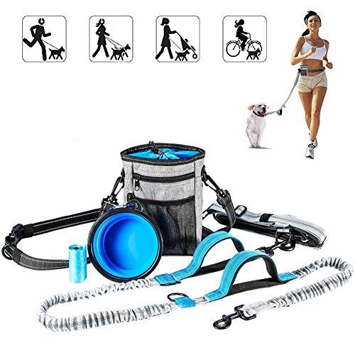 Premium Joggingleine Hundeleine mit verstellbarem Bauchgurt Dehnbare Laufleine für kleine und große Hunde mit 1 Futterbeutel 1 Faltbare Schüssel 1 Hundekotbeutel Joggen Spazieren