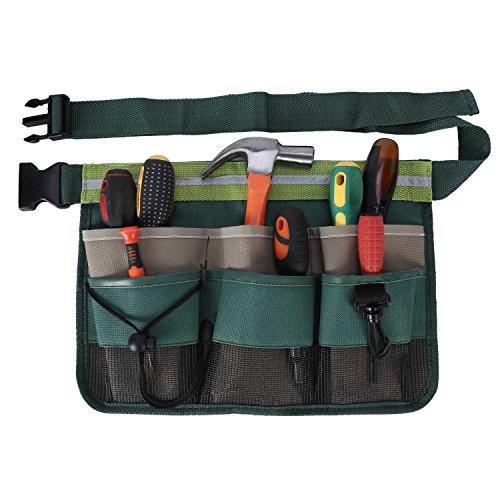 ENJOHOS Werkzeuggürtel, Werkzeugtasche 600D Oxford, Gürteltasche mit Multi-Pocket für Gartenarbeit Bauarbeiter Mechaniker Herren Damen Kinder (Grün)